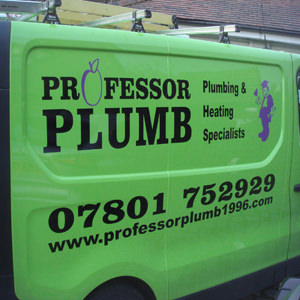 Professor Plumb Van Sign